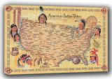American Indian Tribes Map. Art Canvas. Sizes: A3/A2/A1 (00924)